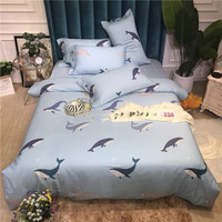 3/4pcs Cotton cartoon Style Duvet Cover sets Fashion Dolphin Design Bedding Sets kids Bed Sheet Pillowcase luxury Home textile