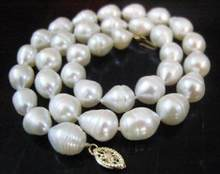 "Jewelry Pearl Necklace REAL 18""9-10mm AA+ AKOYA WHITE baroque PEARL NECKLACE Free Shipping(China)"