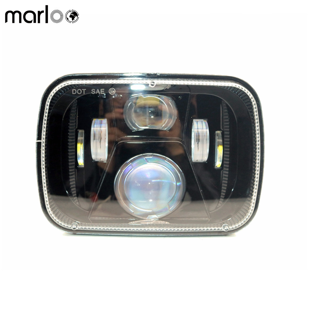 Marloo LED 5x7 6X7 Projector Rectangular Headlights Assembly High Low Beam For 87-95 Jeep Wrangler YJ 85-87 Chevy Truck Off Road