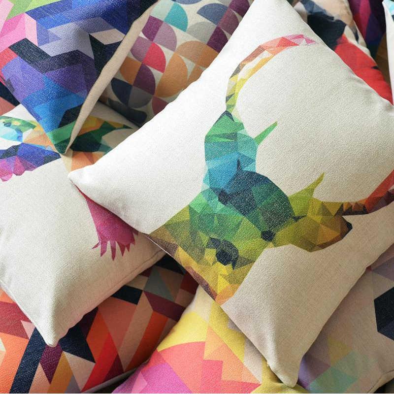 Геометрическая красочная Подушка с принтом льняная Подушка абстрактная короткая подушка в европейском стиле диванная подушка