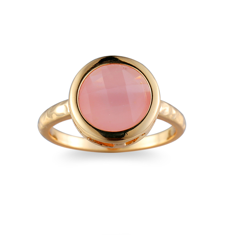 2018 Women Ring Fashion pink Big round natural stone Crystal gold color Wedding rings For Women Jewelry Wholesale anillos mujer in Wedding Bands from Jewelry Accessories