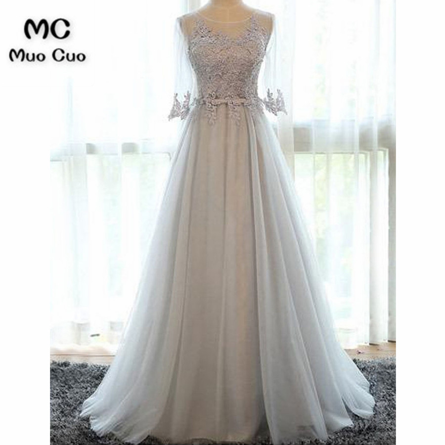 Elegant 2018 Grey   Prom     dresses     dress   for graduation Appliques Lace Tulle Half Sleeves Formal Evening   Prom     Dress