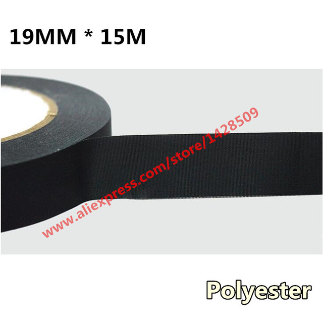 Купить с кэшбэком 19mmx15m Polyester Fiber Cloth Tape Universal Canvas Tape Automotive Wiring Harness Black Car Acetate Adhesive Tape