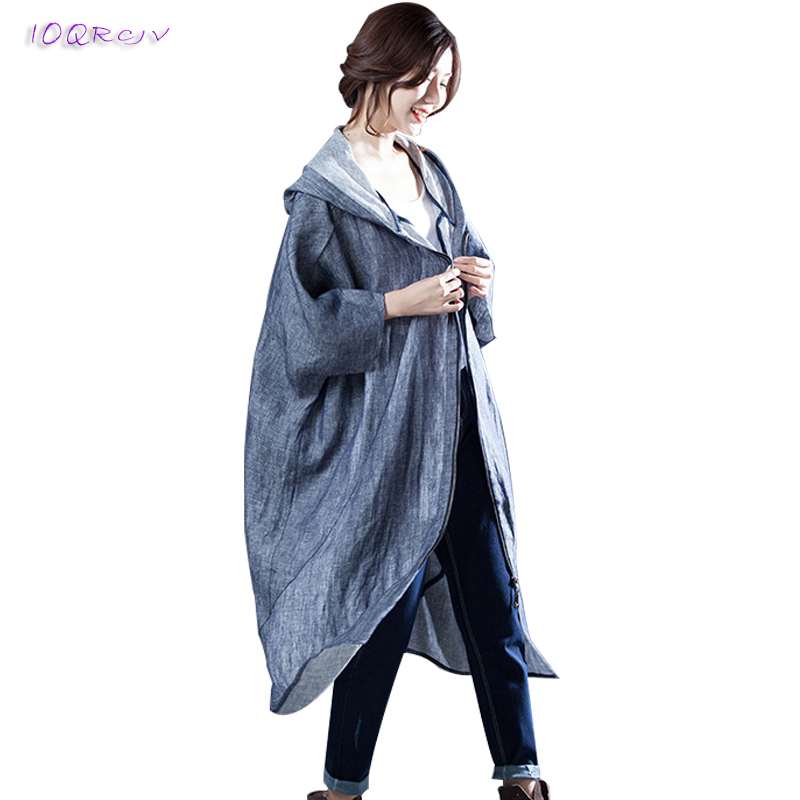 new 2018 spring women's windbreaker hooded big size loose women coat elegant Boutique female   trench   coat women long IOQRCJV T195