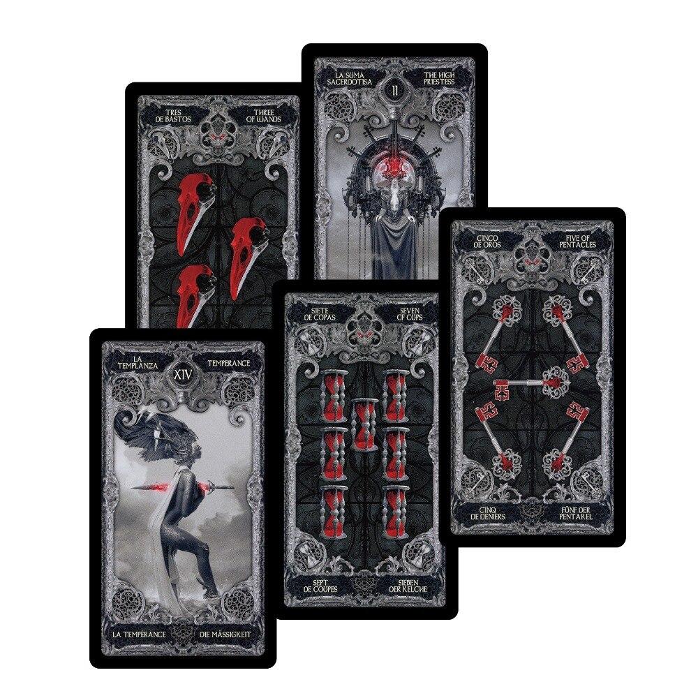 2018 nuevo juego de cartas oscuras tarot cubiertas inglés español francés alemán versión misterio juego de cartas para mujeres juego de mesa