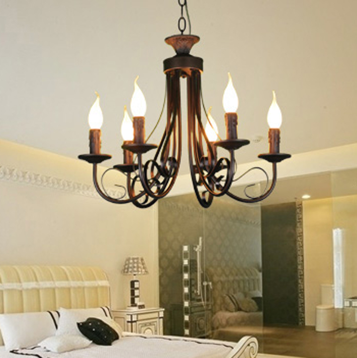 6 arms Modern art deco rustic candle chandelier For foyer dinning room living room with black color
