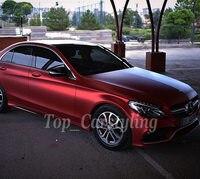 Красный Матовый хромированный виниловая Автомобильная обертка пленка для покрытия транспортного средства фольга с воздушным выпуском/воз