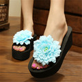 Wedge Flip Flops 2017 New women Fashion Sandals Summer Flower Slippers Beach Flip Flops Platform  Flower China Slides flipflops
