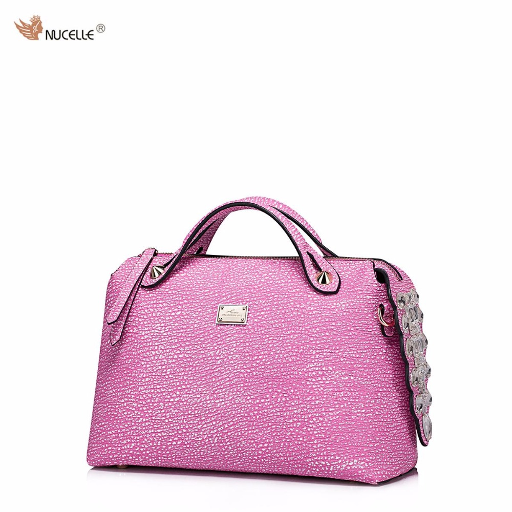 ФОТО NUCELLE New Brand Design Diamonds Crocodile Tail Shark Grain Cowhide Leather Women Handbag Shoulder Bag Gift For Girl