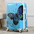20 '' de mujer mariposa equipaje rodante / Girl Vintage Design ABS Trolley embarque bolsas / maleta Hardside sobre ruedas caso viajero