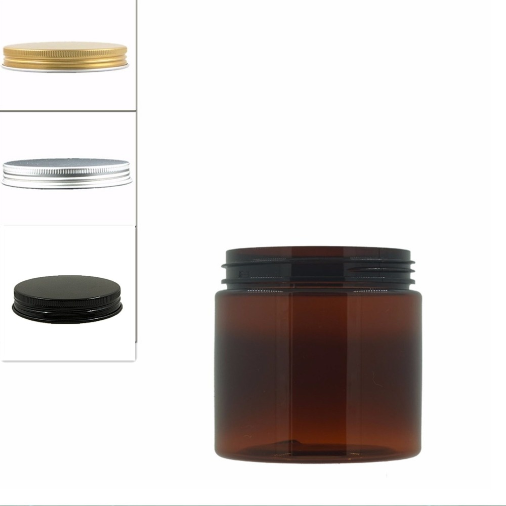 10pcs/lot 200ml Amber Round Pet Jar Bottle Container With Sliver/gold/black Aluminium Cap Lids For Cosmetic,food, Packaging,