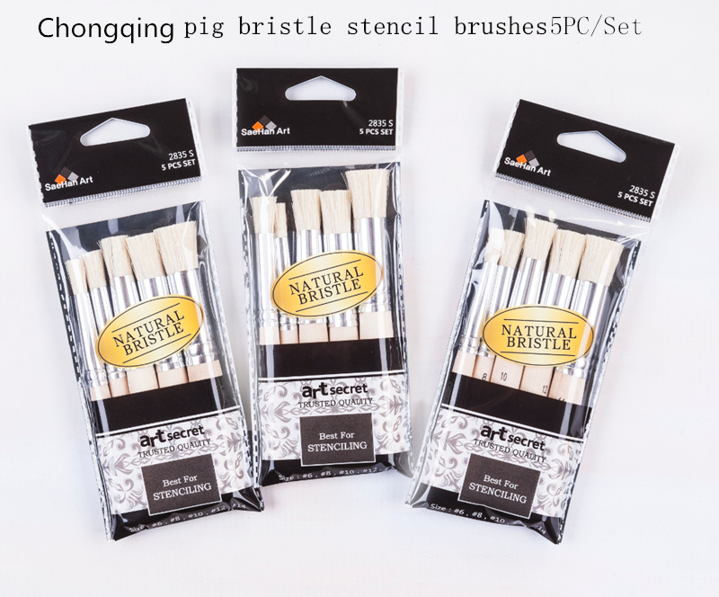 цена на 2835S 5PC/Set high quality hog bristle wooden handle paint brushes acrylic and oil drawing stencil art painting brush