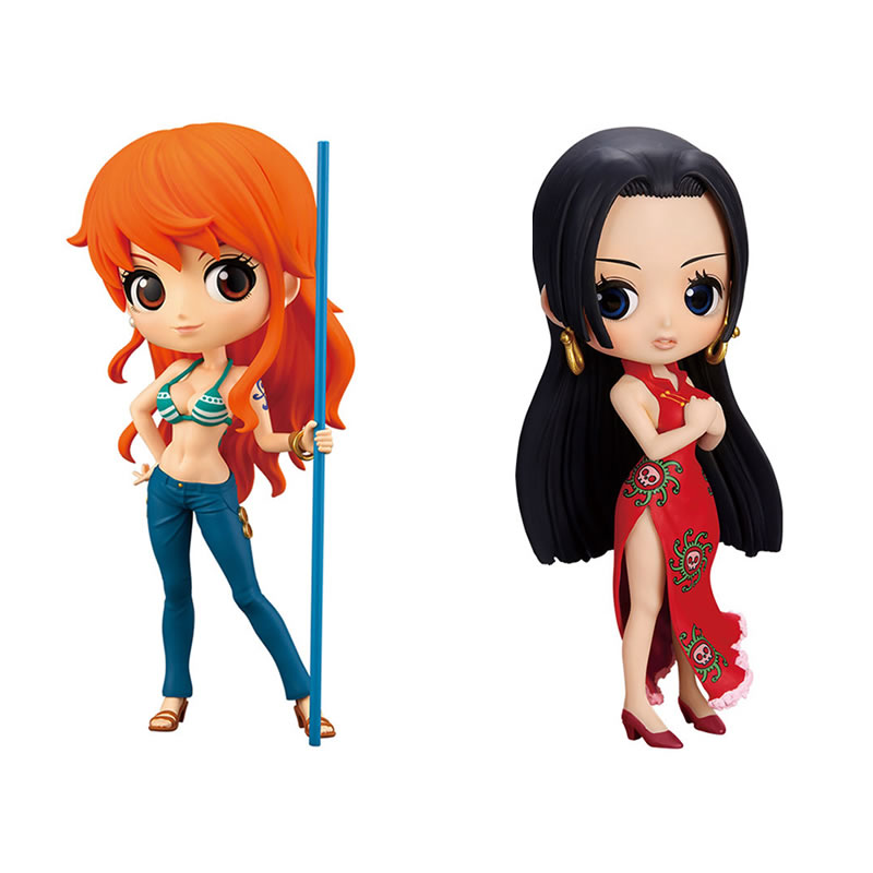 14CM Original Q Posket Series Characters ONE PIECE Nami Boa Hancock Pvc ABS action figure collection toy doll with box