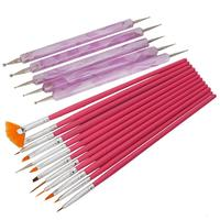 12pcs Nail Art Detailing Painting Drawing Brushes + 5 X 2 Way Marbleizing Dotting Pen Tool Set