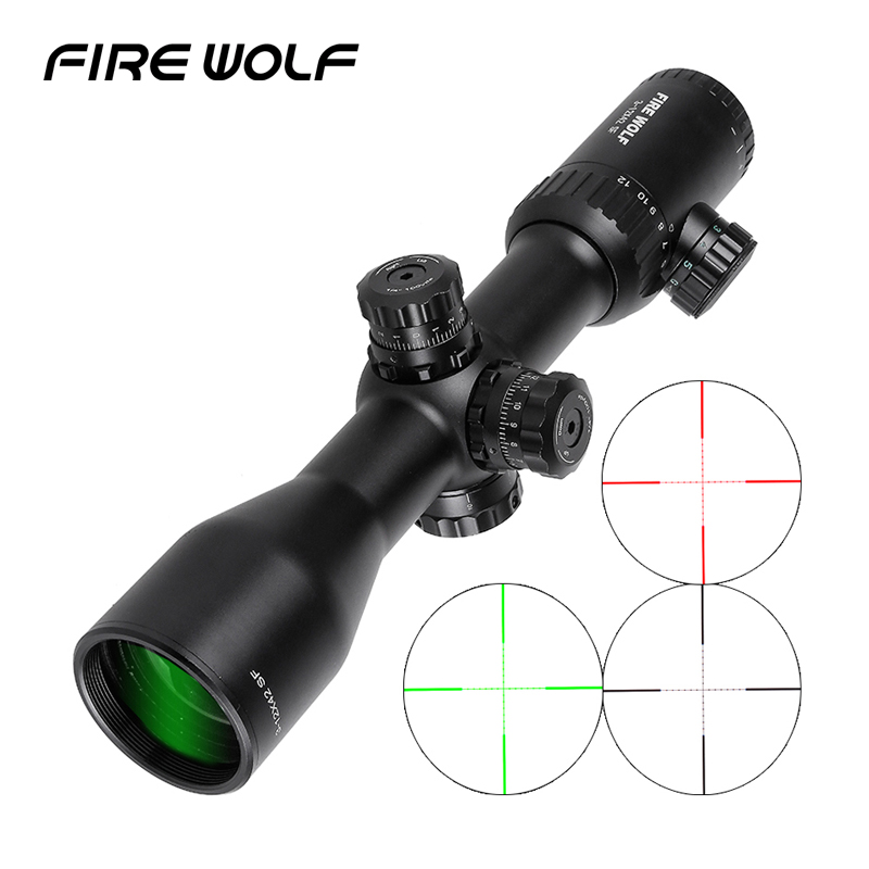 Free Shipping 2018 NEW FIRE WOLF 3-12X42 SF Rifle Scope W/ Mounts Red Dot Mira Telescopica Riflescopes Hunting Discovery 2017 new fire wolf 4 5 14x42 sf b riflescopes rifle scope hunting scope fits for 11mm 20mm rail free shipping