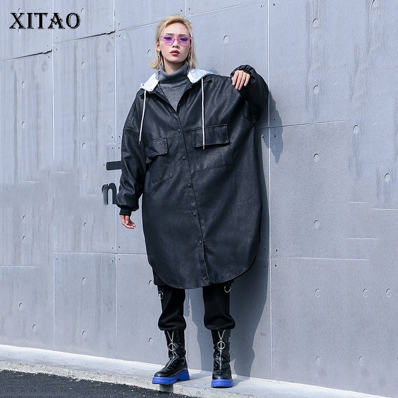 [XITAO] 2019 Spring Summer Korea Fashion New Women Single Breasted A-line Hooded Collar Sleeve Solid Color Long   Trench   WBB1693