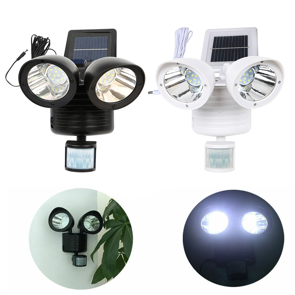 22 LED Solar Wall Light PIR Motion Sensor Rotable Two Heads Lamp Waterproof Outdoor Indoor Garden Yard Night Security Spotlight