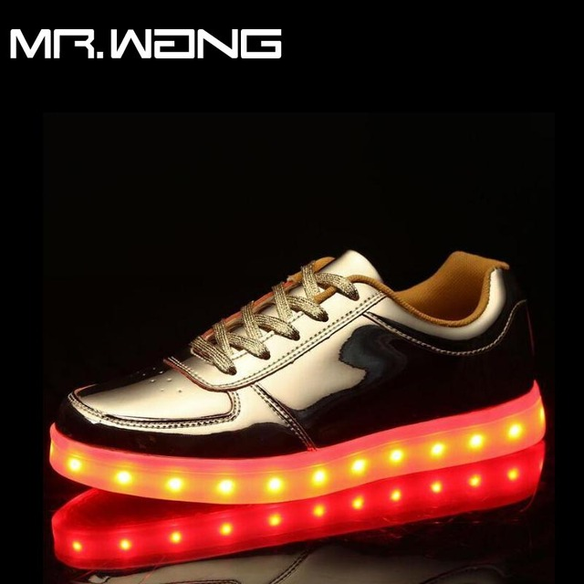 New 7 Colors Fashion LED Lights USB Charging Shoes Men Luminous Shoes Gold Silver Light Up lantern Casual Shoes DD-69