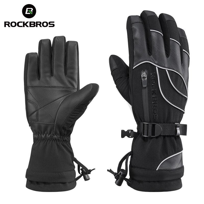 ROCKBROS Ski Handschuhe Motorrad Wasserdichte Fleece Thermische Handschuhe Snowboard Schneemobil Handschuhe Männer Frauen Winter Schnee Handschuhe Männlichen