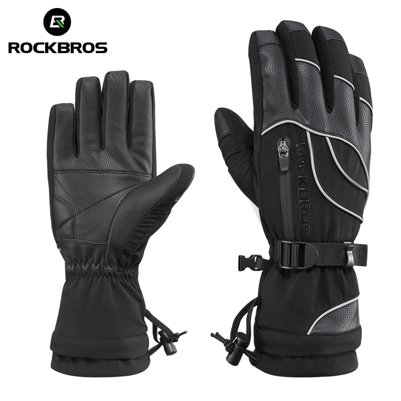 ROCKBROS Winter Ski Gloves Waterproof Windproof Touch Screen Snowboard Gloves Motorcycle Fleece Thermal Skiing Men Women