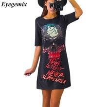 Summer Women Skull Printing Bodycon Slim Mini Dresses 2017 Vintage Brand Short Sleeve Black Party Female Dress Novelty Tops