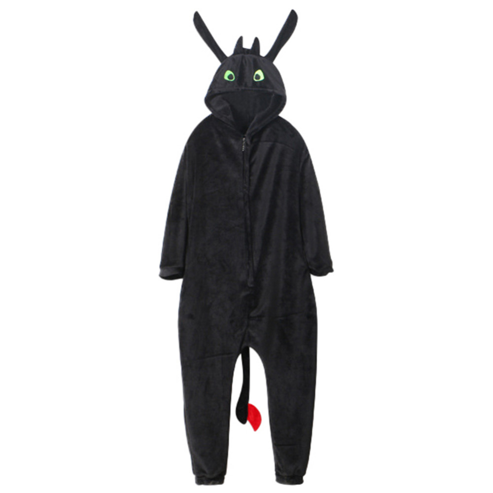 2019 Mode Hoe To Train Your Dragon Tandeloze Pyjama Unisex Nachtkleding Tandeloze Volwassen Kind Flanellen Pyjama Jumpsuit Cosplay Kostuum