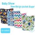 Frete grátis mais novo bebê fralda de pano fraldas com guardas duplas vazamento, 3 - 15 kg tudo em um tamanho de bolso fralda capa 13 cores