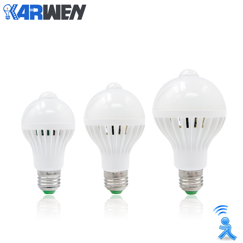 KARWEN PIR Motion Sensor Lamp LED bulb E27 AC 220v 5w 7w 9w white Auto Smart Led Infrared Body Detection Lamp