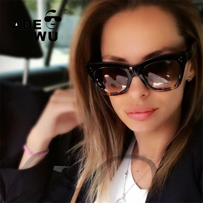ADE WU Luxury Brand Designer Cat Eye Gradient Sunglasses Women Super Star Oversized Sexy ...
