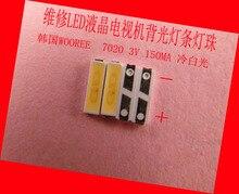 100 unid/lote para reparación LCD TV LED retroiluminación artículo lámpara coreana WOOREE SMD LEDs 7020 3V diodo emisor de luz blanca fría