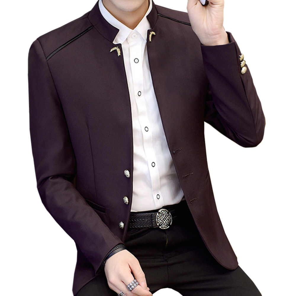 Новая мода Стенд воротник длинный рукав человек Повседневное Блейзер жениться Блейзер Для мужчин Формальная работа блейзер для Весна-осень-зима YW158
