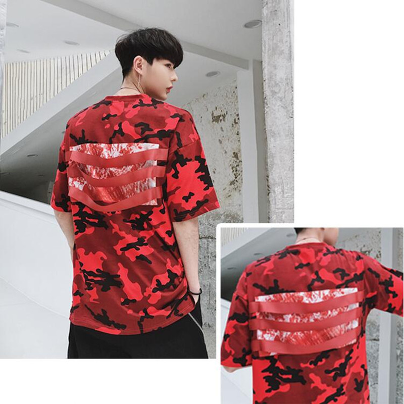 Hip Hop Student Men's T-shirt 2018 New style T-shirt Leisure ribbon sleeves Short sleeves for lovers and American T-Shirts