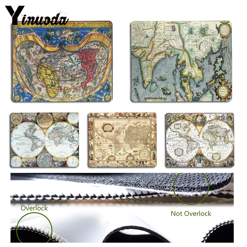 Yinuoda Cool New Ancient Map World map Computer Gaming Mousemats Size for 180x220x2mm and 250x290x2mm Rubber Mousemats