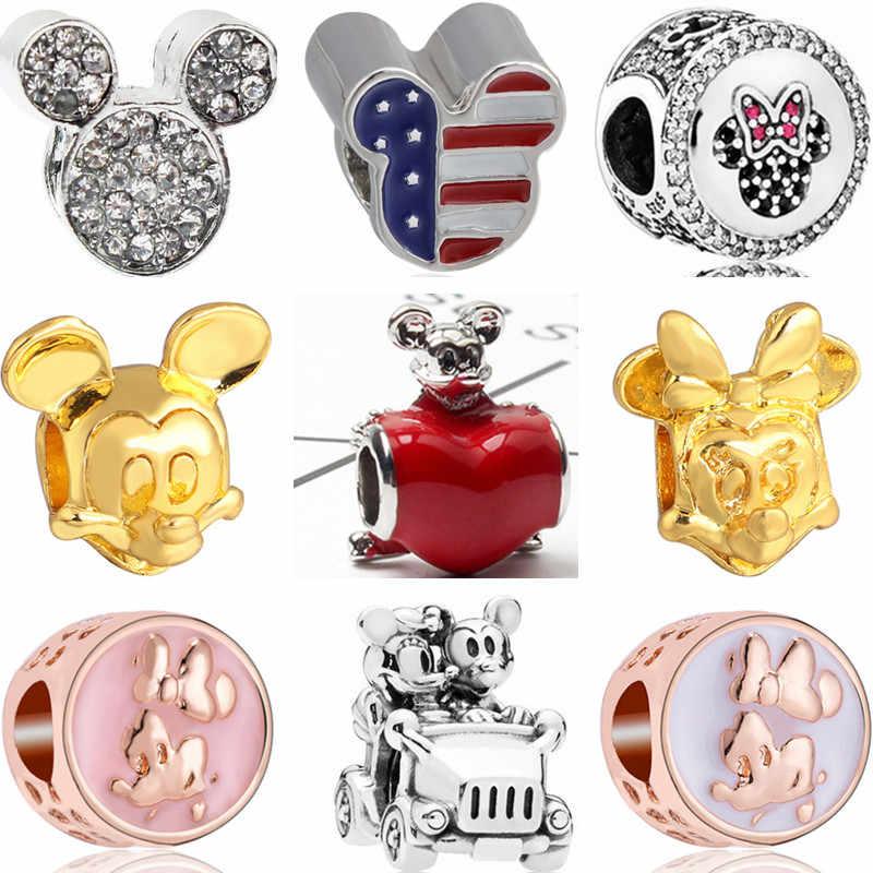 Горячая продажа большая Эмаль мультфильм Кристалл Микки Маус Шарм для браслета Pandora Браслеты для женщин ручной работы ювелирные изделия Perles