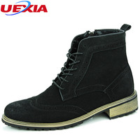 Chelsea Men Boots Pointed Toe Suede Leather Sewing Thread Bullock Black Solid West Fashion Ankle Martin