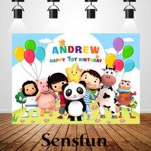 Little Baby Bum fondali a tema neonato 1 ° compleanno nome personalizzato e età fotografia Photobooth Banner festa di compleanno