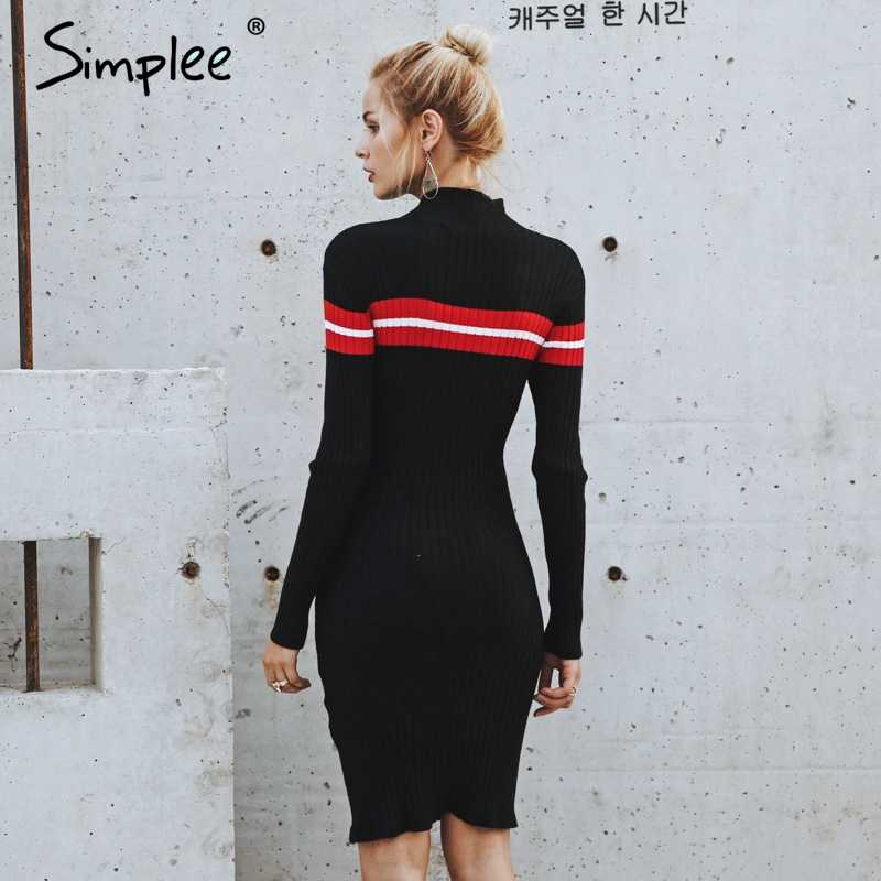 Simplee décontracté col roulé tricoté rayure pull robe Slim o cou moulante sexy robe pull femme 2018 automne hiver robe