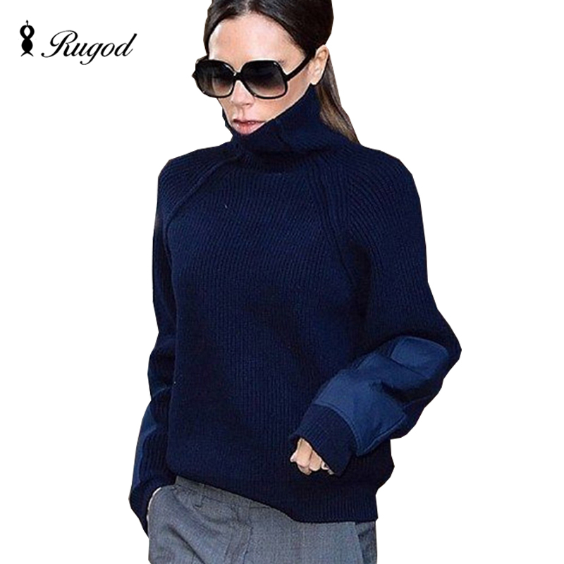 RUGOD 2017 Military Patch Sleeve Jumper Winter Knitting Sweater Women Turtleneck Patchwork Sweaters and Pullovers Pull