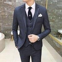 mens Suits jackets + suit pants + vest 2017 LEFT ROM men coat slim fashion business male trousers cotton Waistcoat Size S M-3XL