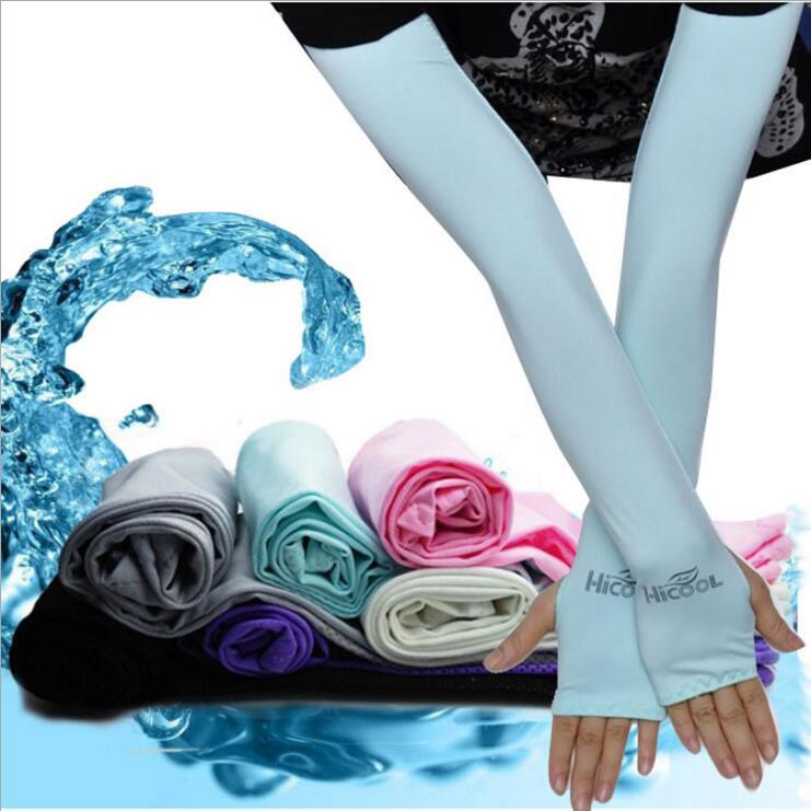 Long Gloves Scar Cover Arm Sleeves Ice Silk Sunscreen Arm Sleeves Sun UV Protection Arm Warmer Half Finger Sleeve