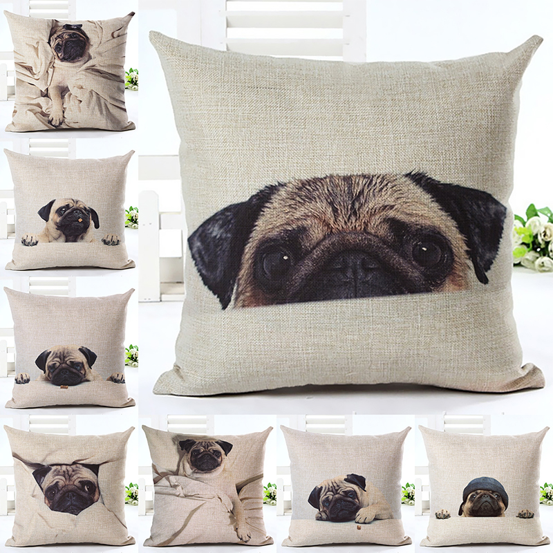 Car-covers Fashion Animal Cushion Cover Pug Dog Children 45*45cm Square Decor Car Sofa 1 Side Pront Throw Pillow Case Almofada