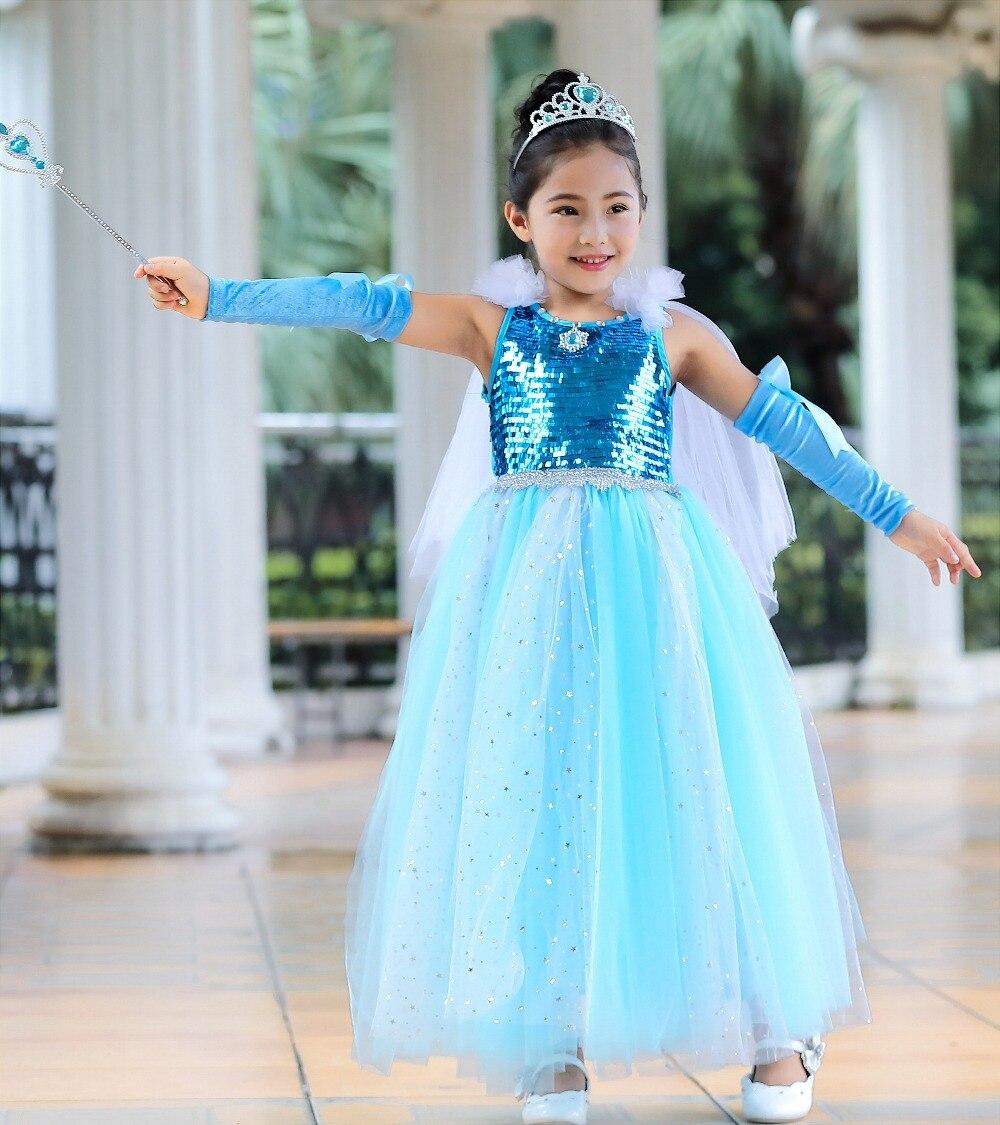 Robe de costume de princesse elsa reine des neiges robe raiponce pour filles robe de bal de fête robe de fille Cosplay Elsa élégante
