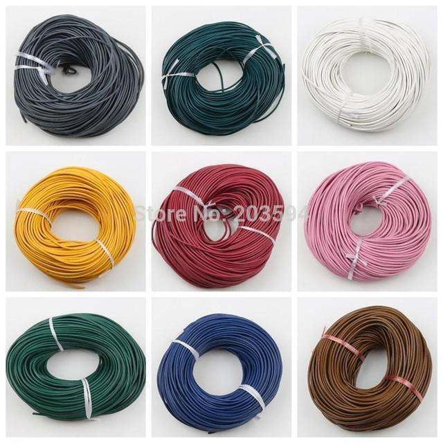 wholesale 15% off 100 meter many colors real round leather jewelry cord 2mm