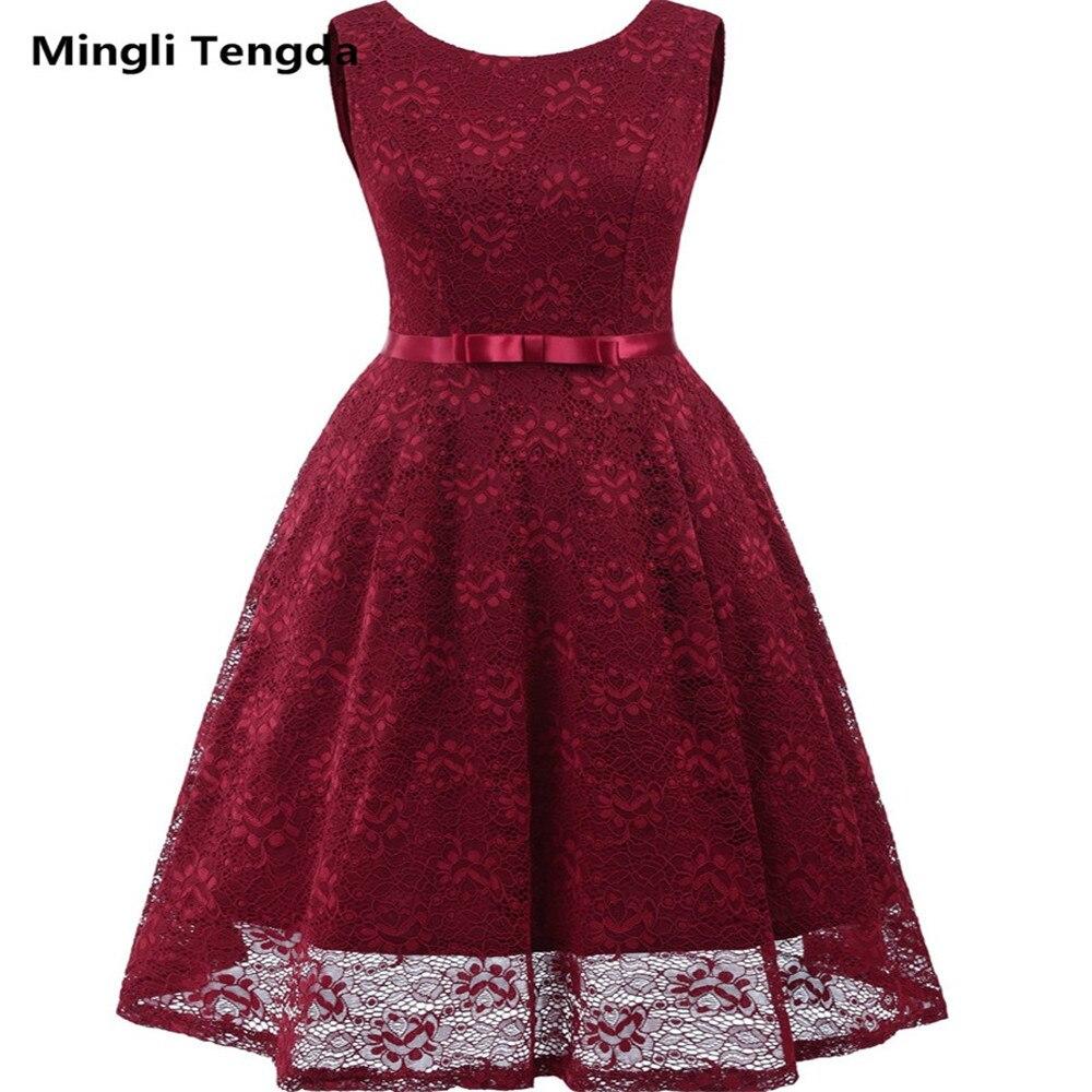 Mingli Tengda Robe De Demoiselles D Honneur Pour Mariage Bridesmaid Dresses Lace Short Dress For Wedding Party Backless A-Line