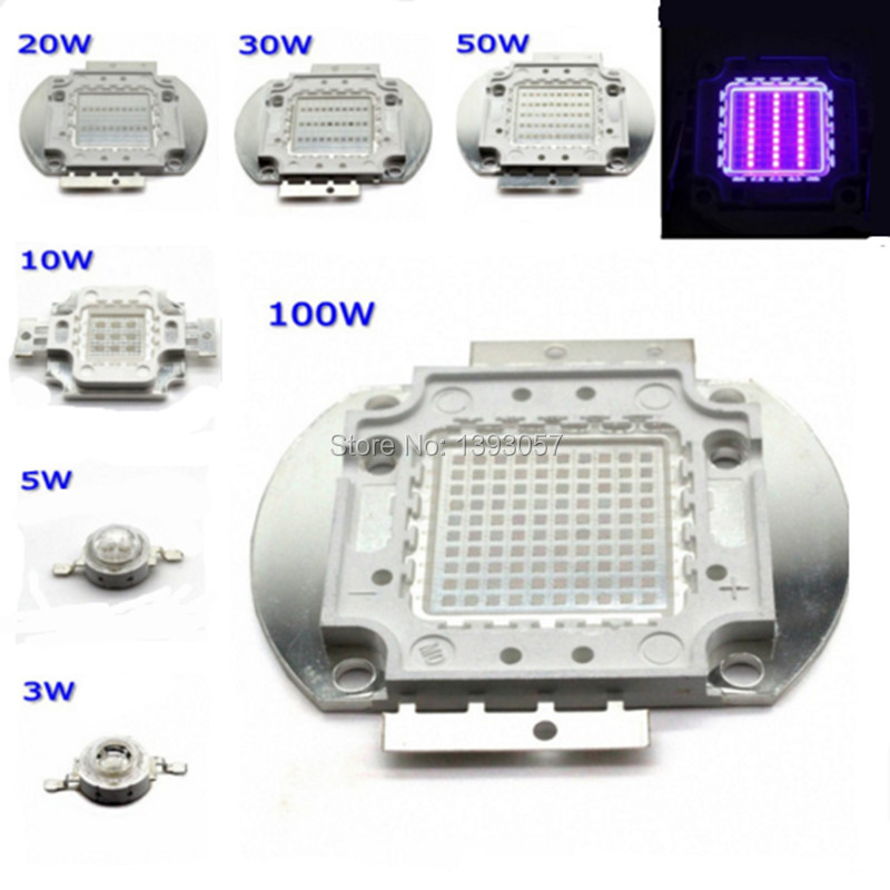 High Power LED Chip UV Purple Light COB 365nm 375nm 380nm 385nm 395nm 400nm 405nm 415nm 3W 5W 10W 20W 30W 50W 100W Ultraviolet 20w high power led uv ultra violet purple light chip 365nm 370nm 380nm 385nm 395nm 400nm 420nm 425nm led light source epileds