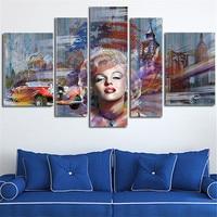 5 Panel de Pared de Gran Tamaño De Pintura Marilyn Monroe Arte de la Lona Imagen Morden Posters Pinturas Decoración Del Hogar Sin Marco