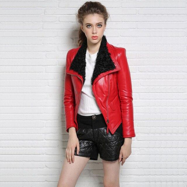 2016 Осень и Зима Женщины Мода Slim Короткие Агнец Меховым Воротником Красный Черный Punk Стиль Натуральной Кожи Куртка Плюс S-2XL