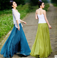 New Arrival 2016 summer & autumn 8 meters big swing high waist chiffon long skirt women mopping chiffon maxi skirts quality saia