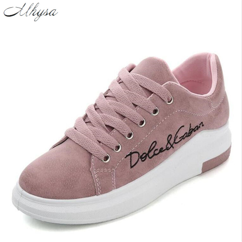 Mhysa 2019 Spring Autumn New Wedges Pink Lace-up Platform Sneakers Women Vulcanize Shoes Tenis Feminino Casual Female Shoes T01
