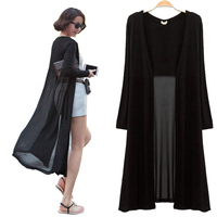 Ankle Length Sweater Coat 2015 Women Knitted Long Sleeve Oversized Sweaters Dress Korean Vintage Black Maxi